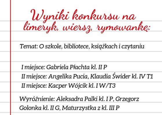 Wyniki Konkursu Na Limeryk Zespół Szkół Nr 1 W Limanowej