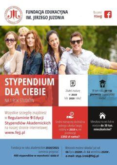 Informacja o Stypendium akademickim im. Jerzego Juzonia- strona główna szkoły