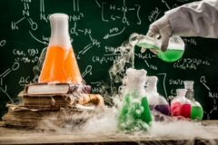 Checking the chemical formula in school laboratory